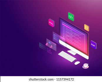 Isometric illustration of desktop with different programing languages software development responsive landing page.