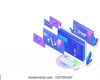 Isometric illustration of desktop with different programing languages and splash screens for Software development programming responsive landing page.