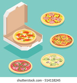 Isometric illustration of different pizza types for order and delivery service.