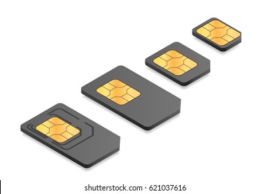 Isometric illustration of different sim card types: mini, micro, nano.