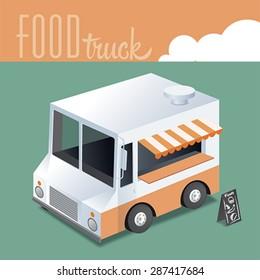 Isometric Illustration of FOOD TRUCK