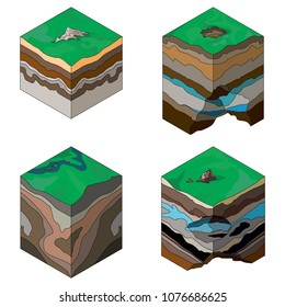 Isometric illustration of geological structure of the earth's crust, isolated on white. Vector