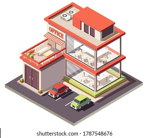 isometric illustration home office  Vector