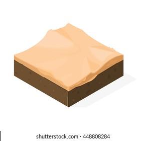 Isometric illustration of a hot Desert Sand landscape.