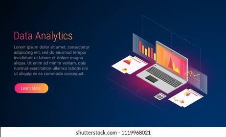 Isometric illustration with Laptop. Economic. Vector at darck blue background