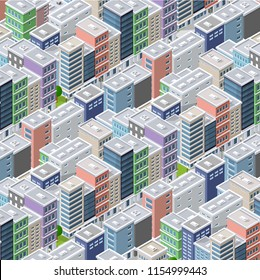 Isometric illustration megapolis city quarter with streets, skyscrapers, trees and houses. Urban landscape top view