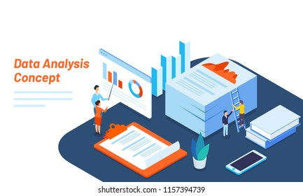 Isometric illustration of miniature business people maintains or analyse the data for Data Analysis concept based responsive web template design.