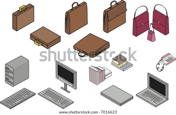 Isometric illustration of office clip art all in individual groups, and easy to edit, no gradients.