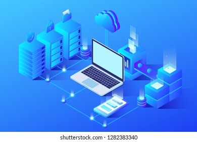 Isometric illustration of office scenes under the Internet environment of big data artificial intelligence