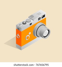 Isometric illustration of an old retro camera.