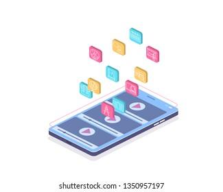Isometric illustration, online education, online video training, 3d isometric for web background design. Internet concept. Modern education landing. University modern concept illustration. Isolated