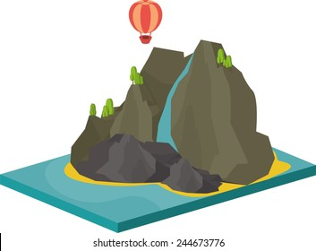isometric illustration of sea landscape with an island in the sea and cliffs