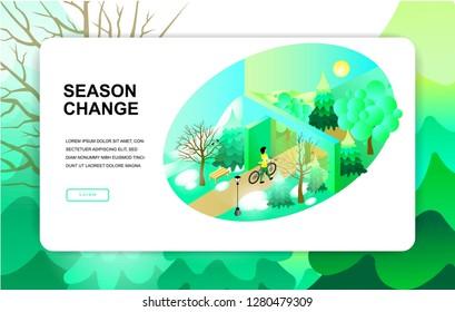 isometric illustration. season change. spring summer. Girl on bike. eps10