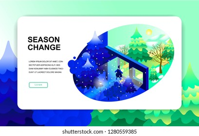 isometric illustration. season change winter spring. Girl with a dog