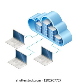 Isometric illustration of server or computer in cloud and laptops, connected with internet, EPS 10 contains transparency.