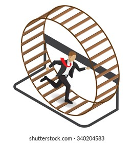 Isometric illustration of a stressed businessman in a suit running in a hamster wheel. Isolated on white background