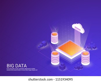 Isometric illustration of three local server connected with cloud server between glowing matrix coding rays for Big Data concept web template design.