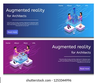 Isometric Illustration Virtual Building Design. Banner Set Image Augmented Reality for Architects. Group Architect are Designing Futuristic Layout Raging City Building. House Modern Metropolis