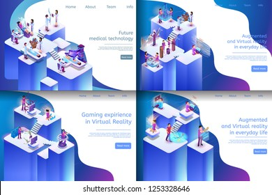 Isometric Illustration Virtual Reality Processes. Banner Set Image Future Medical Technology, Gaming Expirience in Virtual Reality, Augmented and Virtual Reality in Everyday Life.