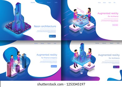 Isometric Illustration Virtual Reality Processes. Banner Set Image Neon Architecture, Augmented Reality for Finance Analytics, Augmented Reality for Architect, Architectural Project
