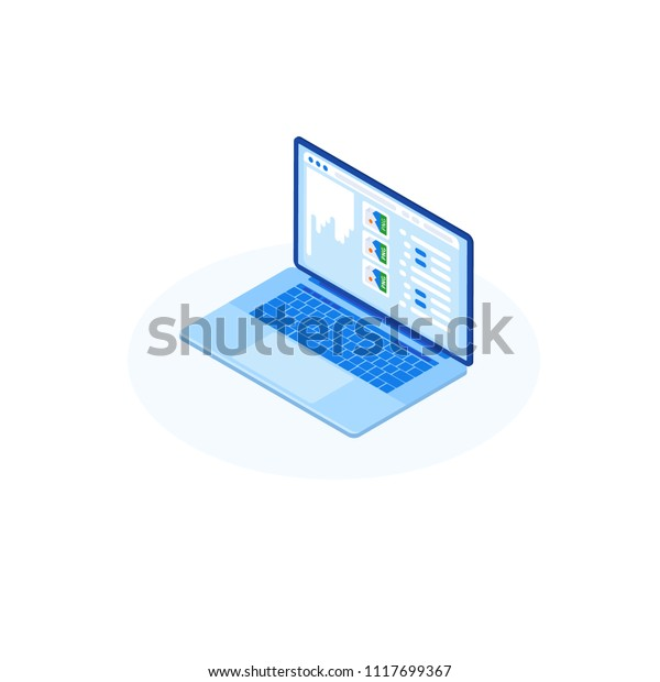 Isometric Illustration Website Coding Process Computer Stock