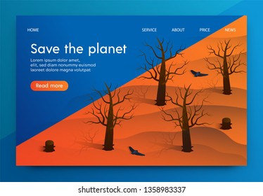 Isometric Illustration is Written Save The Planet. Cutting Down Trees and Disappearance Forests. Extinction Animal Bird Habitats Resulting in Death Entire Species and Subspecies Animals.