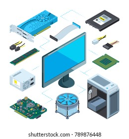 Isometric illustrations of computer hardware. Vector pictures set computer device equipment, server and processor