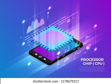 Isometric illustrations design concept mobile technology solution on top with CPU Processor chip. Gradient background and digital graph chart thin line. Vector illustrate.