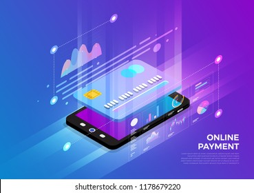 Isometric illustrations design concept mobile technology solution on top with online payment. Gradient background and digital graph chart thin line. Vector illustrate.