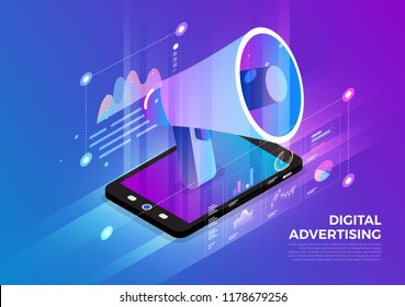 Isometric illustrations design concept mobile technology solution on top with digital advertising. Gradient background and digital graph chart thin line. Vector illustrate.