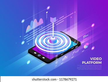 Isometric illustrations design concept mobile technology solution on top with target audience. Gradient background and digital graph chart thin line. Vector illustrate.