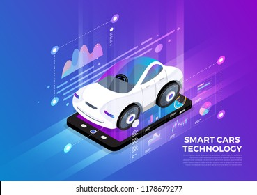 Isometric illustrations design concept mobile technology solution on top with smart cars. Gradient background and digital graph chart thin line. Vector illustrate.