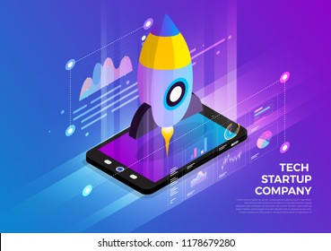 Isometric illustrations design concept mobile technology solution on top with startup company. Gradient background and digital graph chart thin line. Vector illustrate.