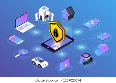 Isometric illustrations design concept mobile technology solution cyber security and device. Gradient background . Vector illustrate.