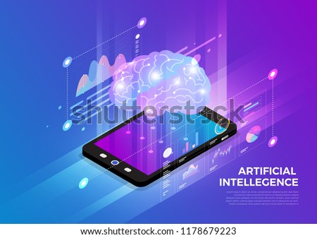 Isometric illustrations design concept mobile technology solution on top with artificial intelligence. Gradient background and digital graph chart thin line. Vector illustrate.