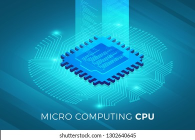 Isometric illustrations design concept technology solution on top with CPU Processor chip. Gradient background and digital graph chart thin line. Vector illustrate.