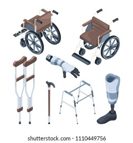 Isometric illustrations of wheelchair and other various objects for disabled peoples. Vector prosthesis equipment, crutch medical, prosthetic artificial foot and hand