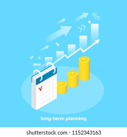 isometric image, financial success and profit, calendar next to gold coins and rising arrow