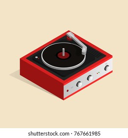 Isometric image of a gramophone in a retro style.