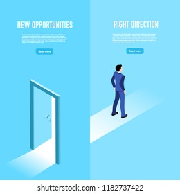an isometric image, a man in a business suit walked through the open door and went on along the path to success