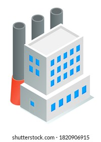 Isometric image of oil refinery factory. Industrial refinery. Petroleum facility. White tall building with blue windows, large tall black pipes. Petroleum production. Flat vector illustration on white