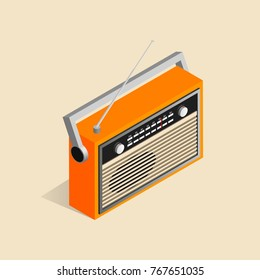 Isometric image of an old retro radio.