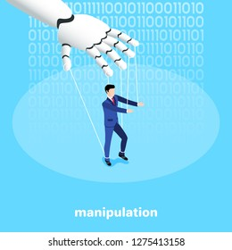 isometric image on a blue background, a robot hand manipulates a man in a business suit