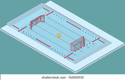 Isometric image of a pool for water polo with ball and nets. Image in vector