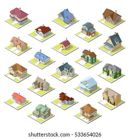 isometric image of a private house set