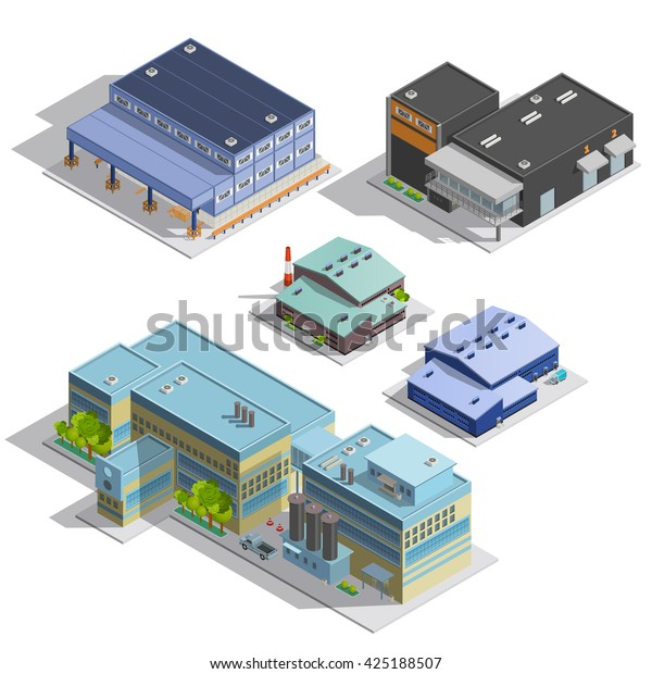 Isometric Images Set Different Types Warehouse Stock Vector (Royalty