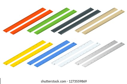Isometric inch and metric rulers. Centimeters and inches measuring scale cm metrics indicator. Ruler 10 inch and grid 26 cm. Size indicator units. Metric Centimeter size indicators.