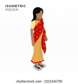 Isometric Indian Woman