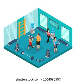 Isometric individual training concept with athletic people doing sport exercises with trainer in gym isolated vector illustration