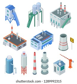 Isometric industrial buildings. Factory building power station industrial zone equipment 3d isolated vector set